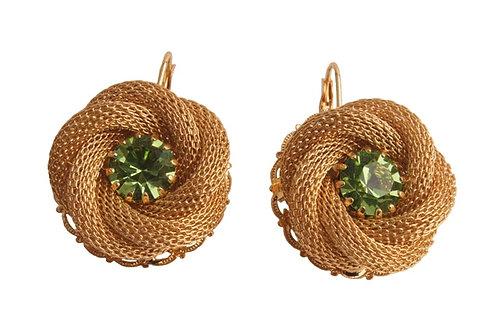 Chain maille flower earrings hook on green