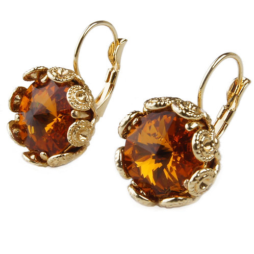 Earrings with round crystal and filigree setting topaz