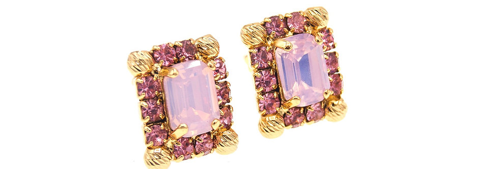 Dew Drop Small Octagonal earrings with striated spheres in pink