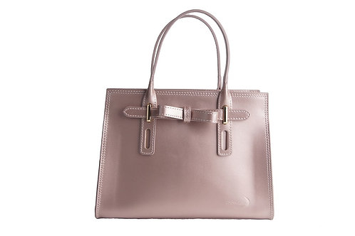 Tote handbag with bow across front, dual handles and strap in soft metallic pink