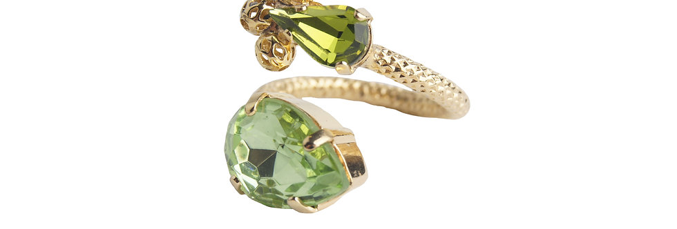 Dew Drop Contrarié ring in Peridot and Olivina