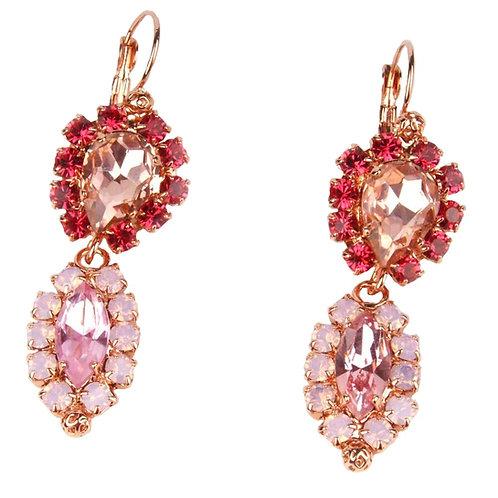 Dew Drop pendant earrings hook on pink