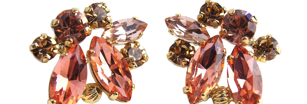 Dew Drop Round and Marquis Crystal earrings in Apricot_LCtopaz_Pad