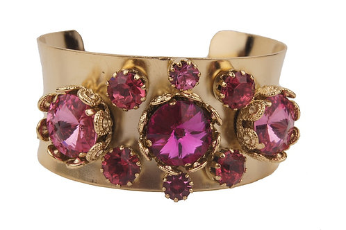 Bangle bracelet with filigree settings and various round crystals geometric design pink