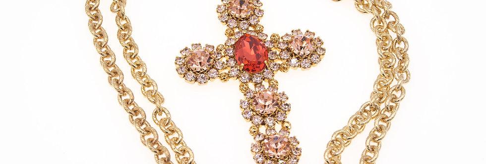 Pompei Cross pendant in goldquartz and peach colors
