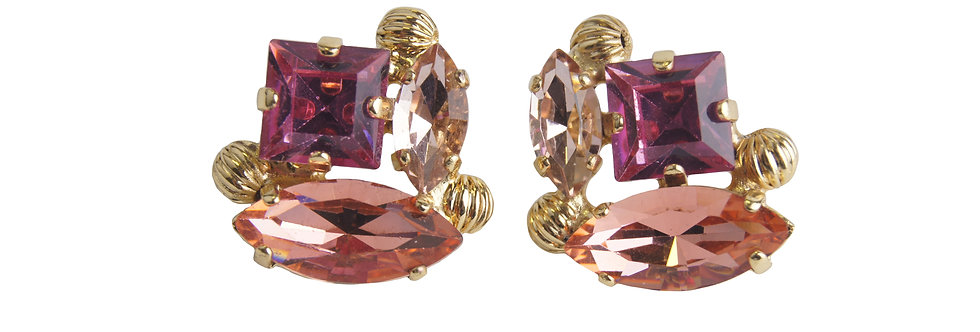 Dew Drop Marquis stud earrings with striated filigree spheres Fucsia_LtPeach_Pad
