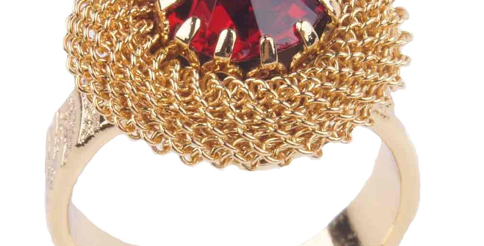 Milanese Chaine Maille open ended ring red