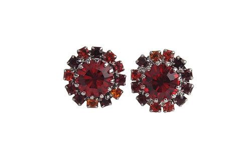 Round stud earrings red
