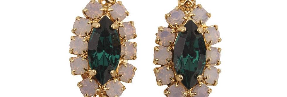 Dew Drop Navette Earrings hook on with small filigree spheres green