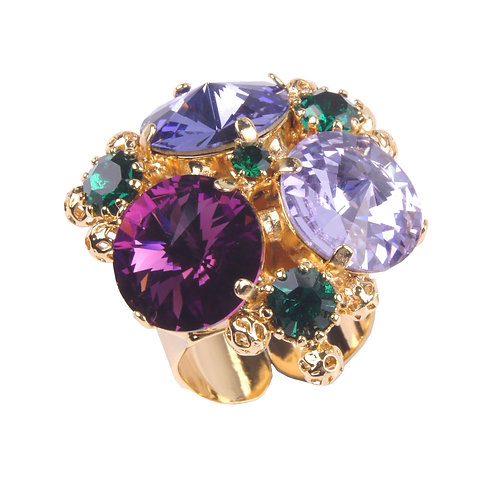 Kaleidoscope open ended ring with crystals and filigree spheres purple