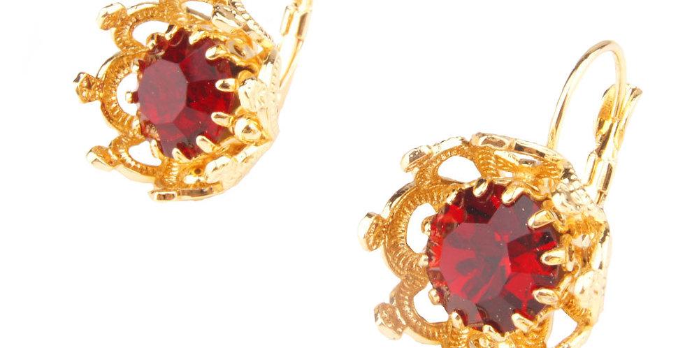 Crown bezel earrings red