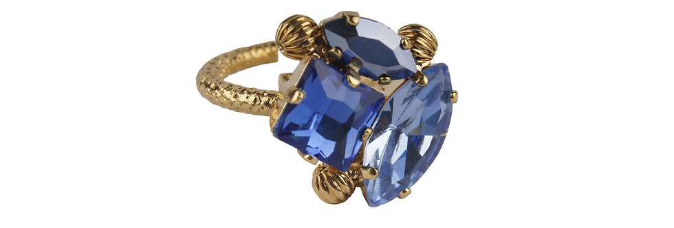 Square and Navette Dew Drop Ring Sapphire LtSapphire SkyBlueAB