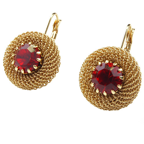 Chain Maille crystal earrings gold plated hook on red