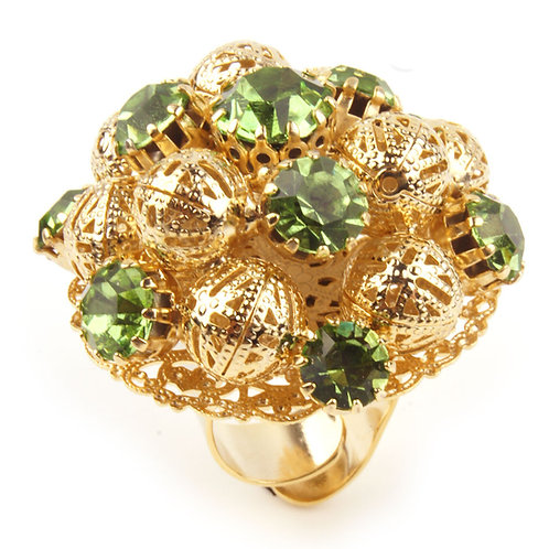 Large dome open ended ring with filigree spheres and crystals green