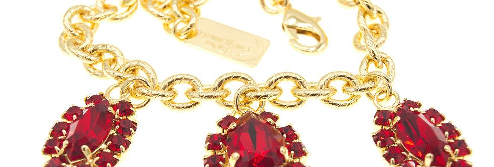 Dew Drop Charm bracelet in Light Siam Red