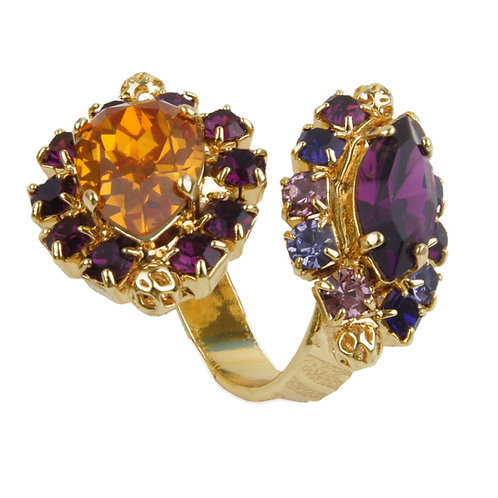 Open ended contrarié ring navette and drop crystals filigree sphere purple