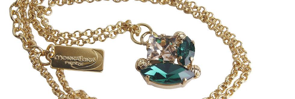 Dew Drop Marquis pendant necklace in GoldenHoney_Emerald