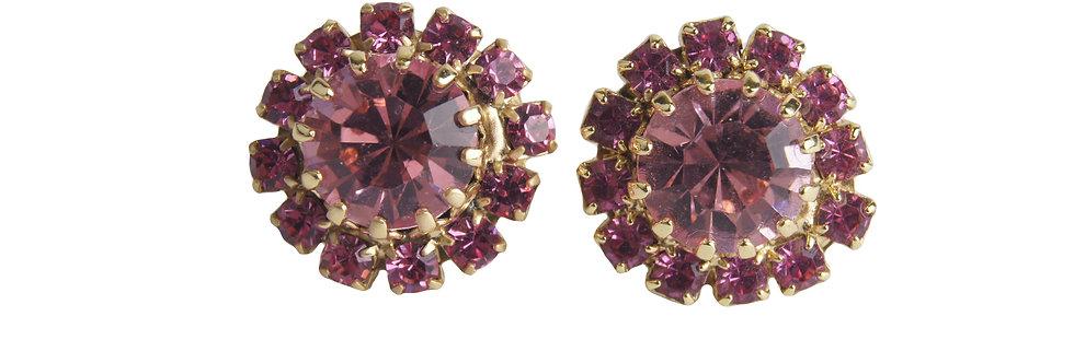 Round stud crystal earrings