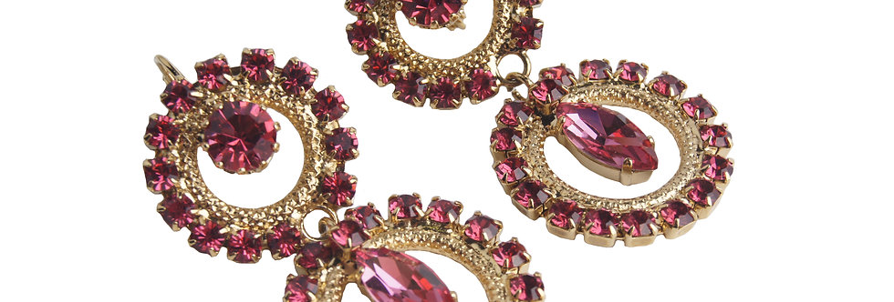 Circle Delight Marquis Earrings in Indian Pink