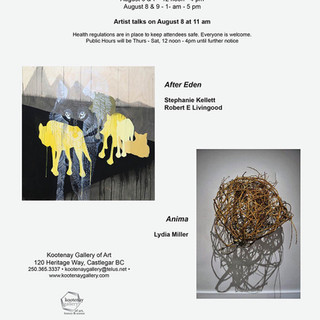 Poster for After Eden and Anima exhibition opening at Kootenay Art Gallery