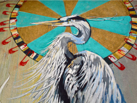 'Coyote Falls in Love with Rain' heron detail
