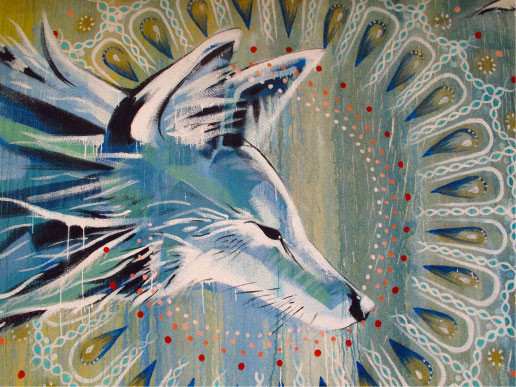 'Coyote Falls in Love with Rain' coyote detail