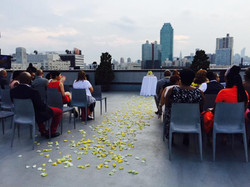 Aisle at CityView Rooftop Wedding