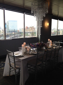Table Display and Chandelier