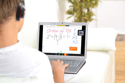 online math student using math tutor for 6th graders video conferencing