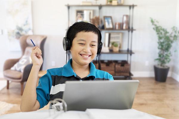 middle school math student enjoying online success