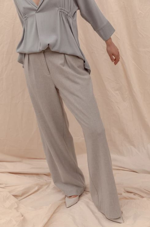 Becker Wide Leg Pant - Soft Grey