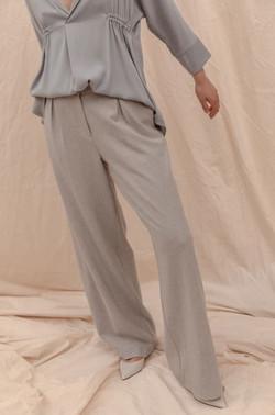 Becker Wide Leg Pant - Soft Grey