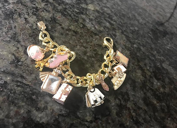 Designer Pink Themed Charm Bracelet