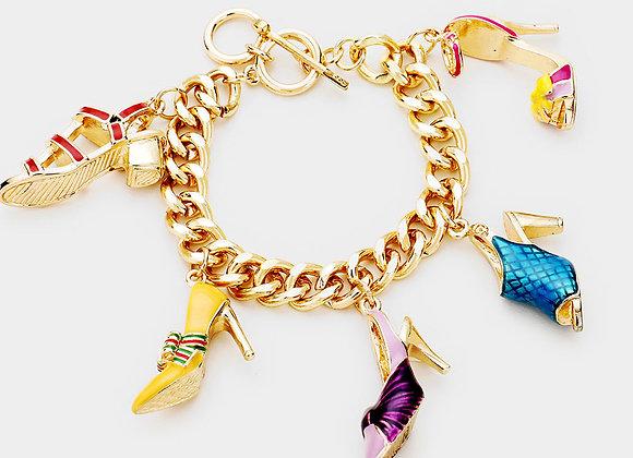Stiletto Kaleidoscope Charm Bracelet - Goldtone