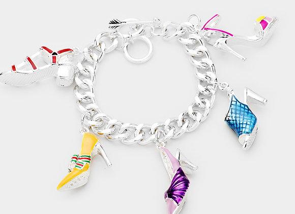 Stiletto Kaleidoscope Charm Bracelet - Silver