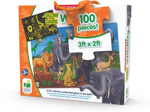 Puzzle Doubles - Glow in The Dark - Wildlife - 100 Pieces