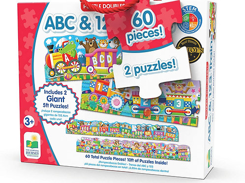 Puzzle Doubles - Giant ABC & 123 Train Floor Puzzles - 60 Pieces
