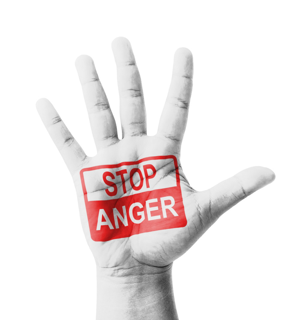 "Hand that says ""Stop Anger""."