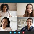 Head shot portrait four multiethnic millennial girls using video call application laptop w