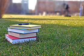 a pile of colorful books on lawn in camp