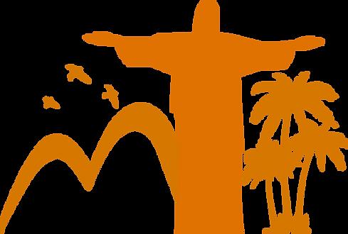 Cristo redentor, um coqueiro umas aves.