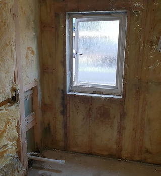 Bathroom renovation works wood insulation installations