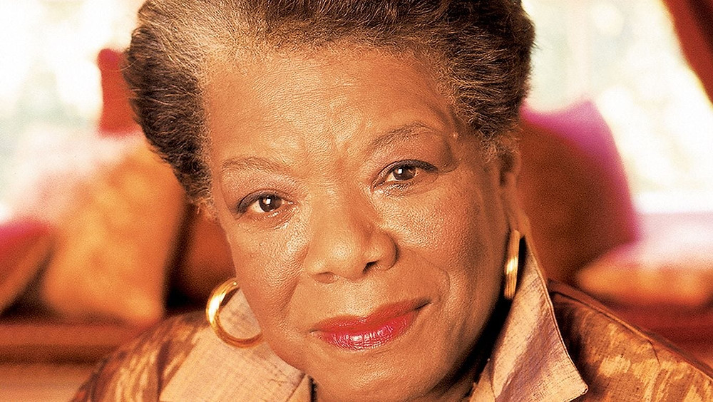 Colored picture of Maya Angelou smiling into the camera
