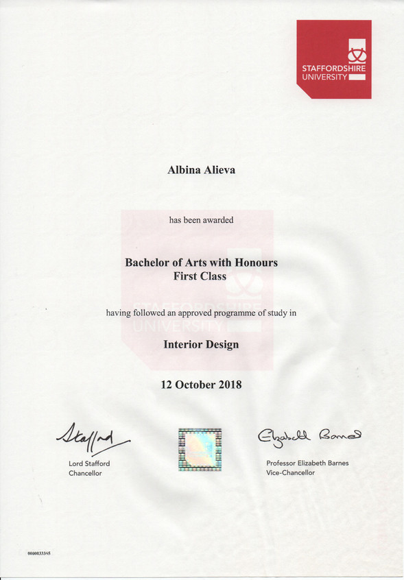 Bachelor degree Interior Design