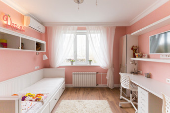 pink bedroom for two siblings design by Albina Alieva