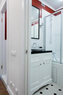 small bathroom design with metro tile by Albina Alieva
