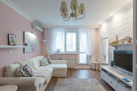 Pink living room design by Albina Alieva