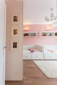 pink kidsroom design for two girls by Albina Alieva