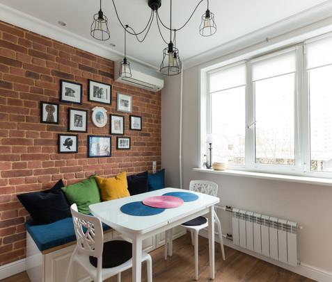 Kitchen design with brick wall by Albina Alieva