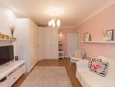 pink small living room design by Albina Alieva